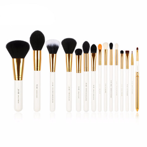 White & Gold Brush Set x 15 pieces - VainCity