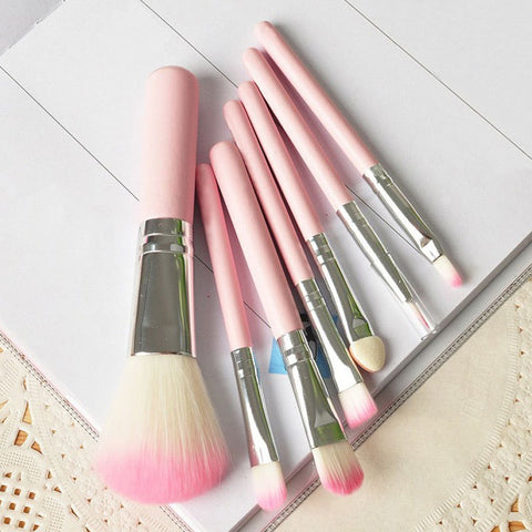 Wooden Pink Makeup Brush x 7 pieces - VainCity
