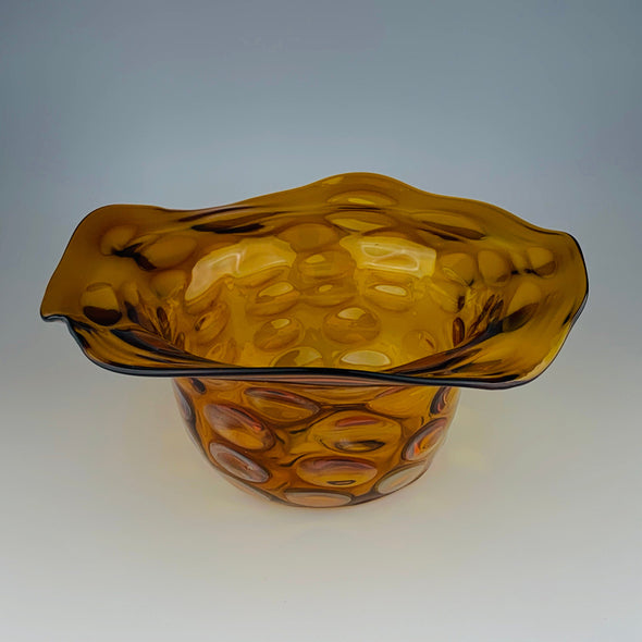 Amber Wavy Glass Bowl - Sawtooth Glass Project
