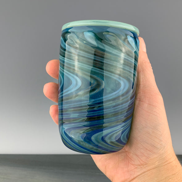 Blue Green and Silver Glass