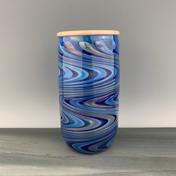 Cobalt Blue and Salmon Pint Glass