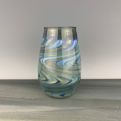 Charcoal and Silver Stemless Wineglass