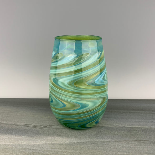 Green and Silver Stemless Wineglass