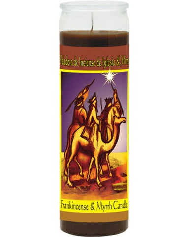 Frankincense & Myrrh Brown Candle - Scented Wax 7 Day