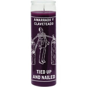 Tied Up & Nailed Purple Candle