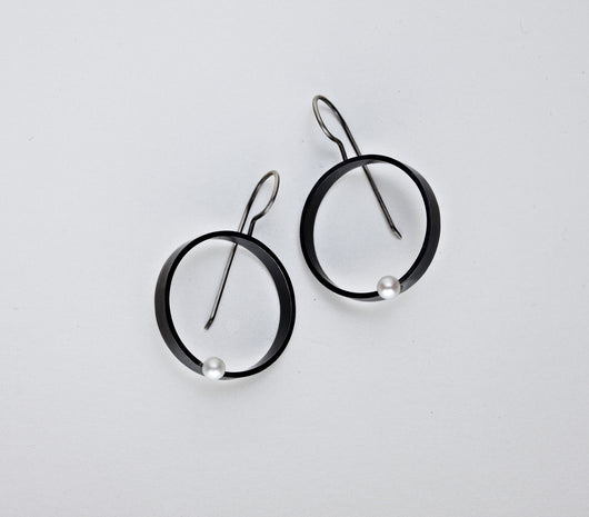 Pearl Open Circle Earrings