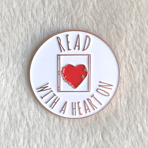 Read With A Heart On Enamel Pin