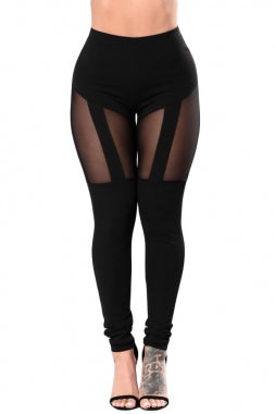 Black Mesh Thighs Leggings