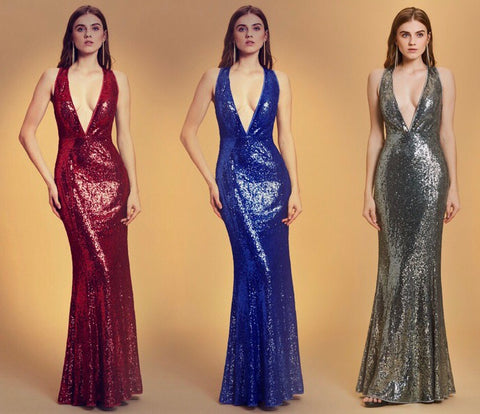 Plunge front Sequin Evening Dress