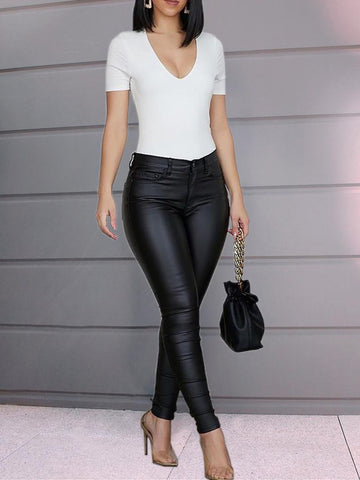 High waisted leather look pants