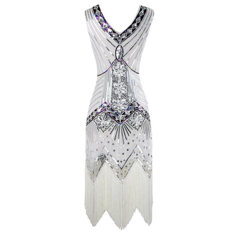 White Gatsby style beaded dress