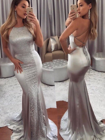 Silver Halter Bodycon Sequined Evening Dress