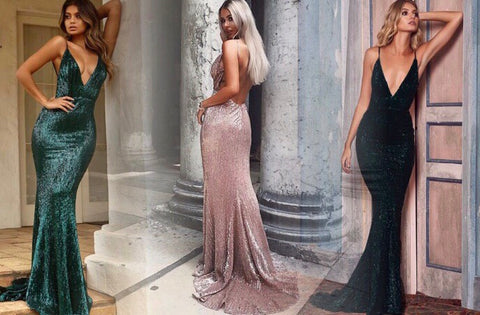 Sexy Low-cut Backless Sequined evening gown