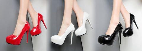 Round toe platform pumps