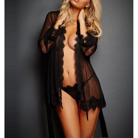 Black Long Sleeve Lace Trim sheer Nightgown Sleepwear
