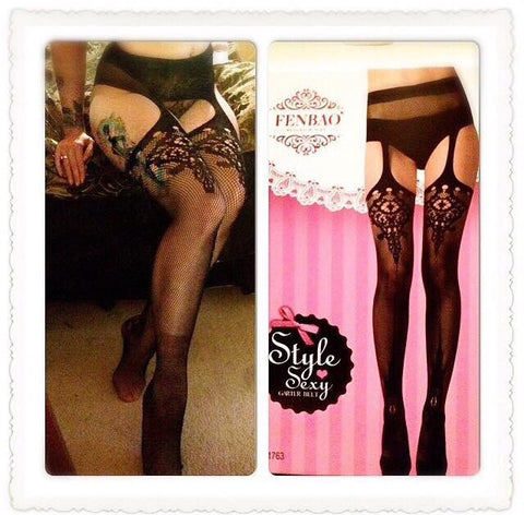 Lace suspender stockings