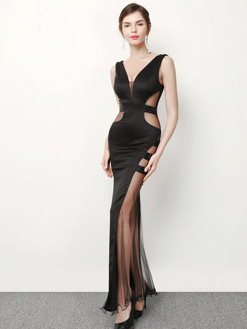 Sexy sheer panel evening gown