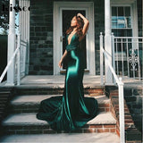 Deluxe Satin mermaid gown Green