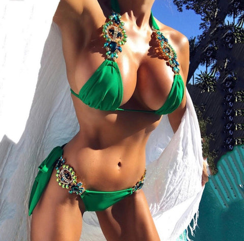 Emerald Green jewelled Bikini