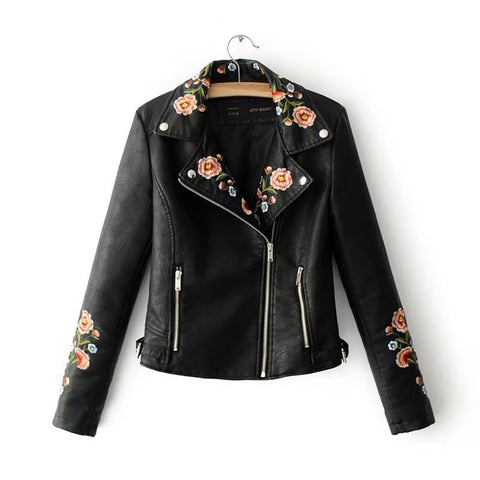 Spring Flower PU Jacket (Black, Pink)