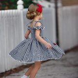 Red Bow, Plaid Girls Dress