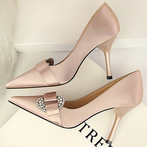 Elegant Satin Buckle Pump