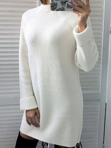 Winter Long Sleeve Sweater Dress Red, Whit & Black
