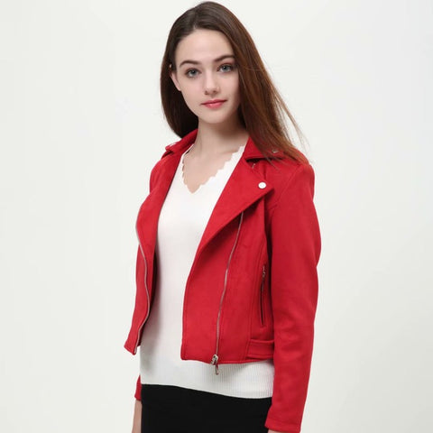 Cropped biker style  jackets (Red, Pink, Grey)