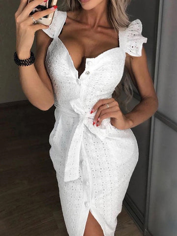 Lace button front dress