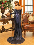 Off shoulder Navy blue or Gold gown