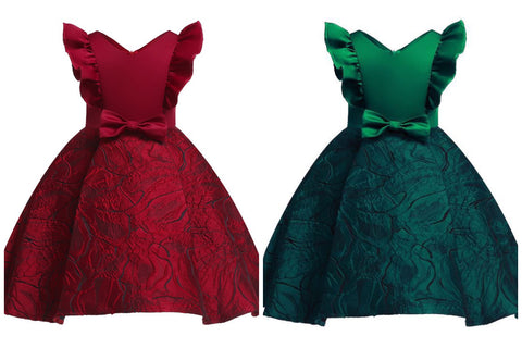 Ruby Red or Emerald green Jacquard Dress