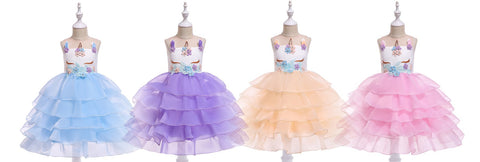 Mini Magical unicorn Design Girls Princess Dress