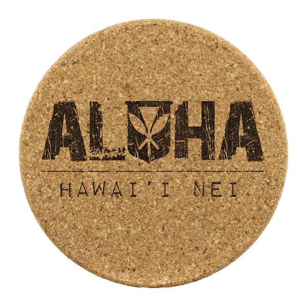 Aloha Hawai'i Nei Round Cork Coaster Set, Coasters, Hawaii Nei All Day