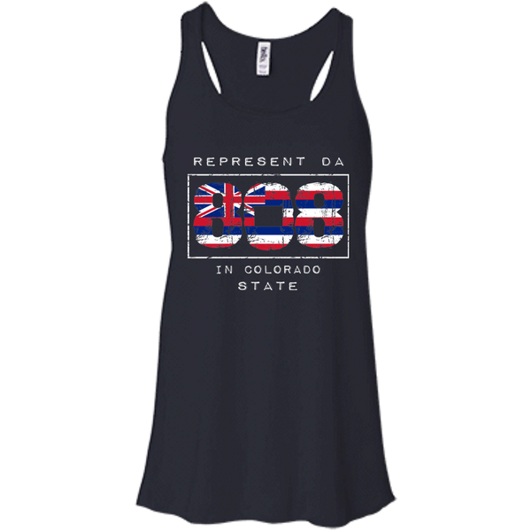 Rep Da 808 In Colorado State Bella + Canvas Flowy Racerback Tank, T-Shirts, Hawaii Nei All Day