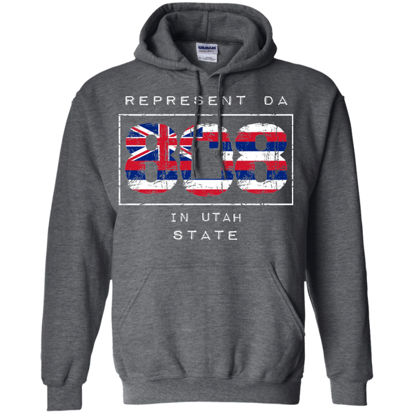 Rep Da 808 In Utah State Pullover Hoodie 8 oz., Sweatshirts, Hawaii Nei All Day, Hawaii Clothing Brands
