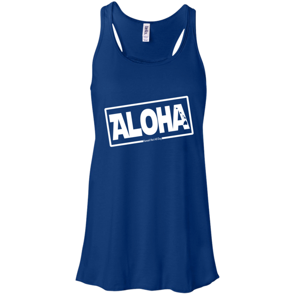 Aloha Hawai'i Nei (Islands white ink) Racerback Tank, T-Shirts, Hawaii Nei All Day