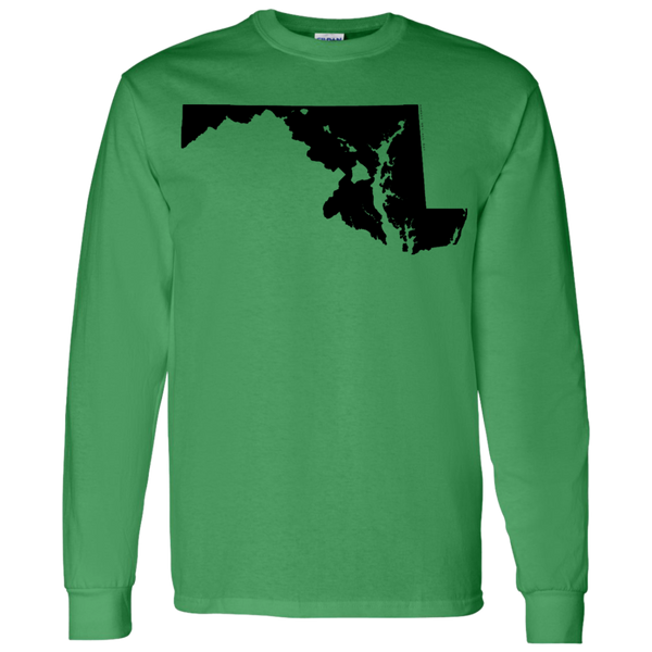 Living in Maryland with Hawaii Roots LS T-Shirt 5.3 oz., T-Shirts, Hawaii Nei All Day, Hawaii Clothing Brands