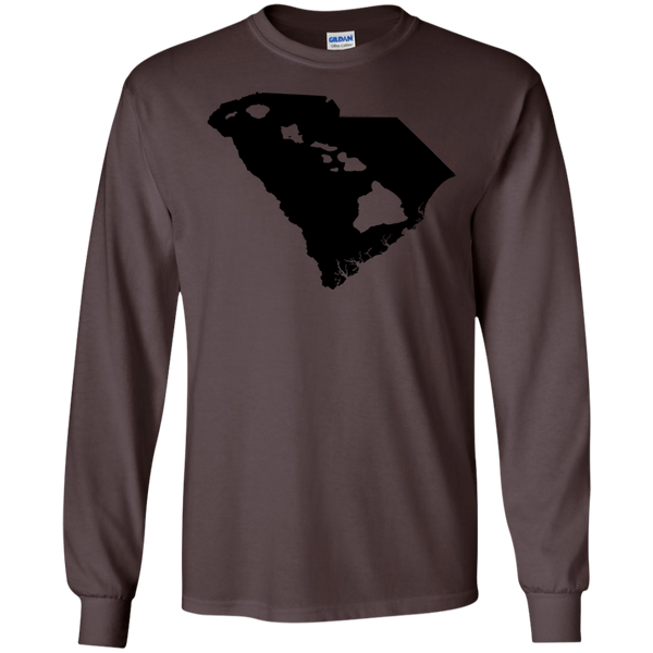 Living In South Carolina With Hawaii Roots LS Ultra Cotton Tshirt, Long Sleeve, Hawaii Nei All Day, Hawaii Clothing Brands