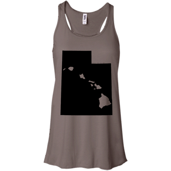 Living in Utah with Hawaii Roots Bella + Canvas Flowy Racerback Tank, T-Shirts, Hawaii Nei All Day