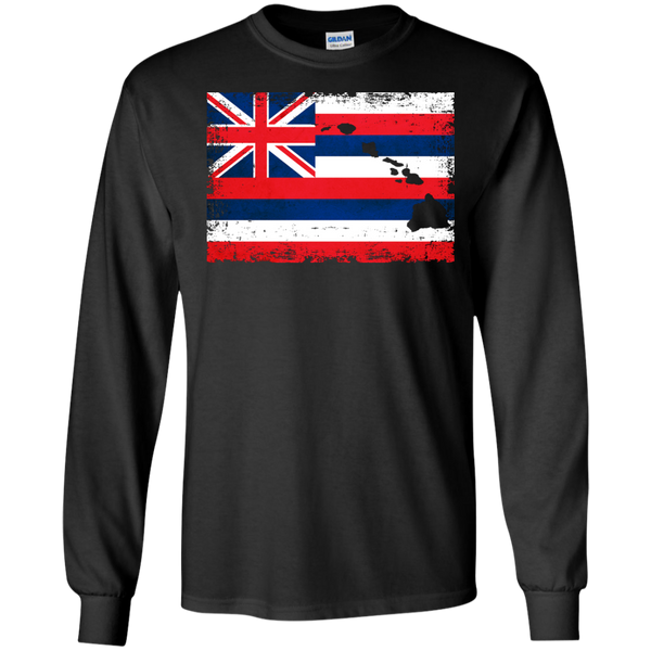 Hawaii State LS Ultra Cotton Tshirt, Long Sleeve, Hawaii Nei All Day
