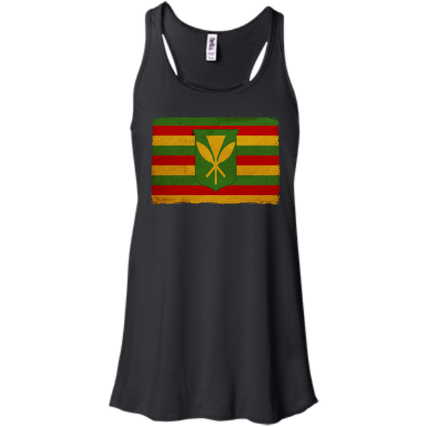 Kanaka Maoli Flag Bella+Canvas Flowy Racerback Tank, , Hawaii Nei All Day, Hawaii Clothing Brands