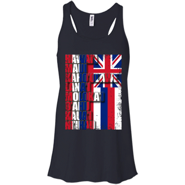 Hawaiian Island Pride Bella + Canvas Flowy Racerback Tank, T-Shirts, Hawaii Nei All Day, Hawaii Clothing Brands