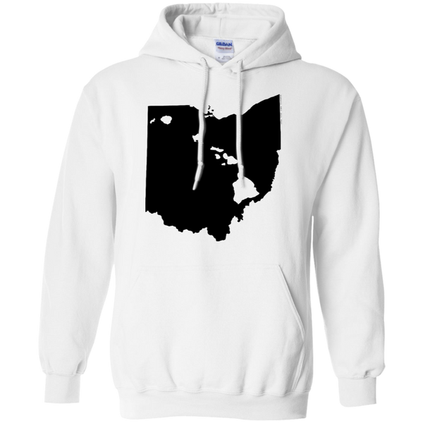 Living in Ohio with Hawaii Roots Pullover Hoodie 8 oz., Sweatshirts, Hawaii Nei All Day, Hawaii Clothing Brands