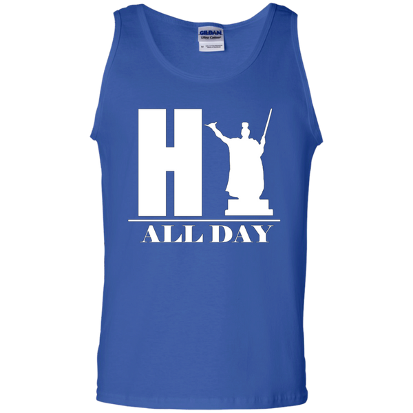 HI ALL DAY 100% Cotton Tank Top, Sleeveless, Hawaii Nei All Day