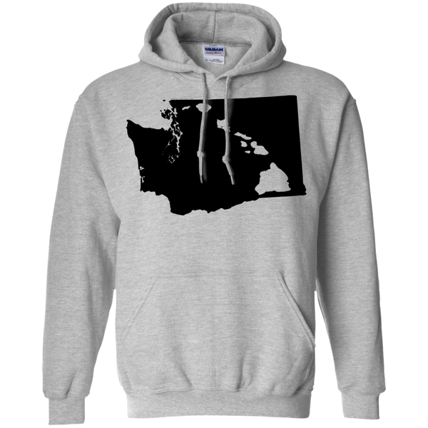 Living In Washington With Hawaii Roots Pullover Hoodie 8 oz, Hoodies, Hawaii Nei All Day, Hawaii Clothing Brands