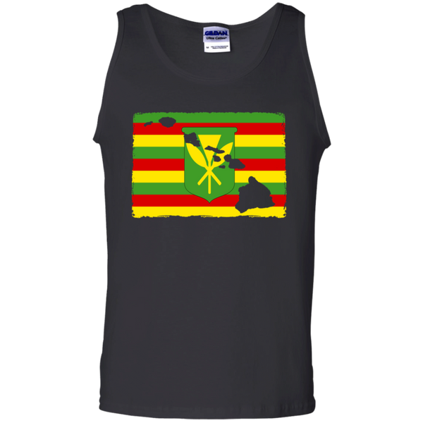 Hawai'i Kanaka Maoli Flag 100% Cotton Tank Top, T-Shirts, Hawaii Nei All Day