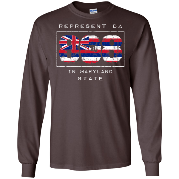 Rep Da 808 In Maryland State LS Ultra Cotton T-Shirt, T-Shirts, Hawaii Nei All Day