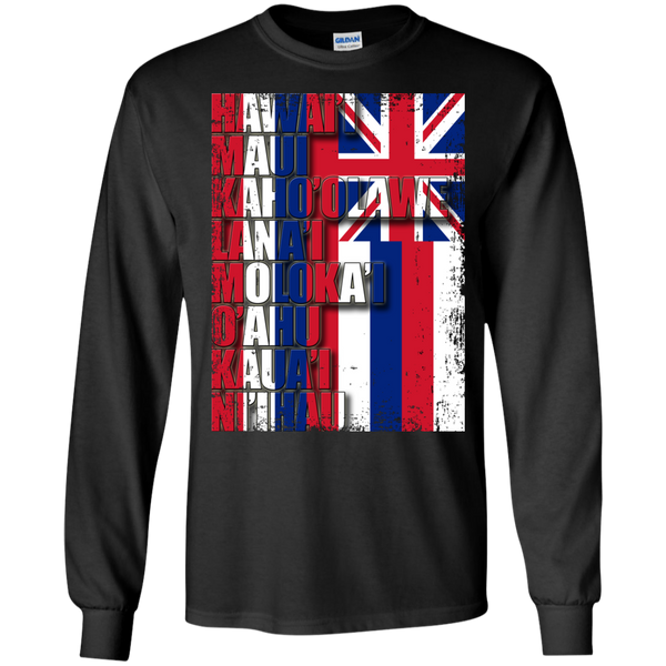 Hawaiian Island Pride LS Ultra Cotton T-Shirt, T-Shirts, Hawaii Nei All Day
