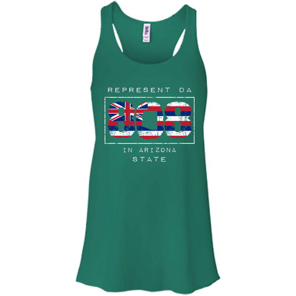 Represent Da 808 In Arizona State Bella + Canvas Flowy Racerback Tank, T-Shirts, Hawaii Nei All Day