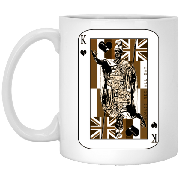 King of Hawai'i Kamehameha 11 oz. White Mug, Drinkware, Hawaii Nei All Day
